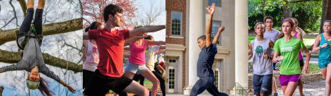Collage of students running, student mid-jump during dance number, students doing yoga by the lake, and student at a climbing ropes demonstration on a tree