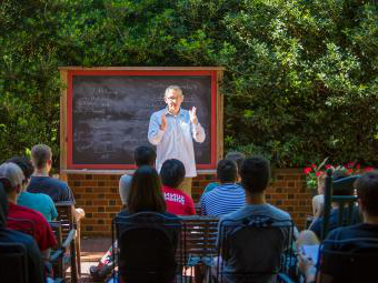 Prof. Randy Ingram leads class outdoors