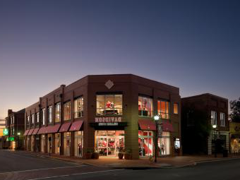 College Store Exterior at Dusk